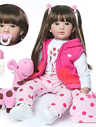 cheap -NPKCOLLECTION 24 inch NPK DOLL Reborn Doll Girl Doll Baby Girl Reborn Toddler Doll lifelike Cute Artificial Implantation Brown Eyes Cloth 3/4 Silicone Limbs and Cotton Filled Body with Clothes and