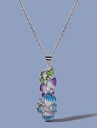 cheap -Women's Silver AAA Cubic Zirconia Necklace Monogram Butterfly Flower Shape Elegant Korean Sweet Brass Silver 50 cm Necklace Jewelry 1pc For Wedding Party Evening Festival