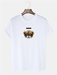 cheap -Men's Unisex T shirt Hot Stamping Graphic Prints Bear Plus Size Short Sleeve Casual Tops 100% Cotton Fashion White Black Blue