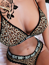 cheap -Women's Normal Backless Super Sexy Chemises & Gowns Undergarments Lingerie Lingerie - Spandex Special Occasion Party / Evening Leopard Letter Bras & Panties Sets Color1 S M L