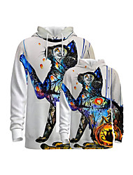 cheap -Family Look Family Matching Outfits Hoodie & Sweatshirt Graphic Optical Illusion Animal Long Sleeve Print White Active