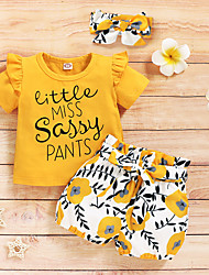 cheap -Toddler Girls' Clothing Set Short Sleeve Yellow Print Solid Colored Ruffle Bow Print School Daily Wear Basic Regular 1-4 Years