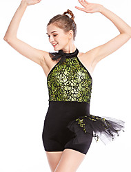 cheap -Ballet Leotard / Onesie Lace Ruffles Women's Training Performance Sleeveless Natural Lace