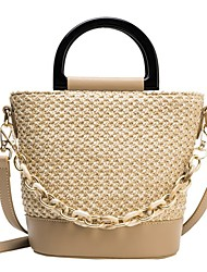cheap -Women's Bags PU Leather Crossbody Bag Straw Bag Zipper Chain Patchwork Plain Daily Going out 2021 Straw Bag Handbags off white khaki
