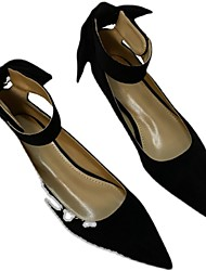 cheap -Women's Flats Flat Heel Pointed Toe Casual Daily Walking Shoes PU Solid Colored Black Red