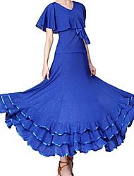 cheap -Ballroom Dance Skirts Ruffles Paillette Women's Training Performance Short Sleeve Polyester