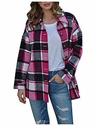 cheap -Women's Casual Wool Blend Plaid Button Down Long Sleeve Shacket Jacket Fashion Loose Mid-Length Woolen Cloth Coat(Hot Pink .M)