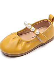 cheap -Girls' Flats Comfort PU Little Kids(4-7ys) Daily Home Walking Shoes Black Yellow Red Spring Summer