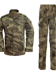 cheap -Men's Hunting Jacket with Pants Outdoor Waterproof Ventilation Wearproof Fall Spring Camo / Camouflage Cotton Camouflage Color Jungle camouflage Black