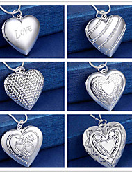 cheap -Women's Men's Pendant Necklace Lockets Necklace Classic Heart Fashion Copper Silver Plated Silver 50 cm Necklace Jewelry 1pc For Christmas Party Evening Street Gift Birthday Party