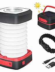 cheap -led camping lamp foldable solar camping lantern energy bank with 2 charging methods (solar / usb) and 3 light modes for camping, fishing, emergencies -incl. survival bracelet with whistle (red)