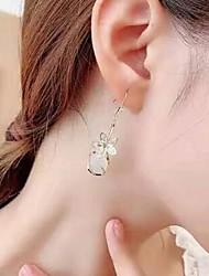 cheap -Women's Cubic Zirconia Ball Earrings 3D Petal Stylish Cute Earrings Jewelry White / Red For Date