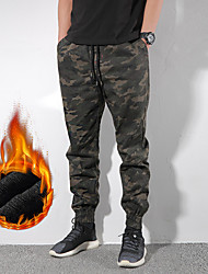 cheap -Men's Camouflage Hunting Pants Hunting Fleece Tactical Cargo Pants Thermal Warm Windproof Fleece Lining Warm Autumn / Fall Winter Camo / Camouflage Cotton Bottoms for Camping / Hiking Hunting Fishing