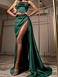 cheap -Sheath / Column Elegant Party Wear Formal Evening Dress Spaghetti Strap Sleeveless Sweep / Brush Train Satin with Ruched Split 2021