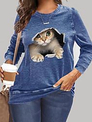 cheap -Women's Plus Size Tops T shirt Print Cat Graphic 3D Cartoon Large Size Round Neck Long Sleeve Big Size XL XXL 3XL 4XL 5XL