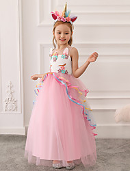 cheap -Kids Little Girls' Dress Unicorn Rainbow Princess Dress Long Tulle Gown Flower Mesh Tulle Maxi Sleeveless  Summer 4-13 Years