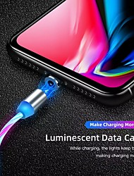cheap -2A Magnetic Charging Mobile Phone Cable USB C Flow Luminous Lighting Data Wire For Samsung Huawei LED Micro Cable