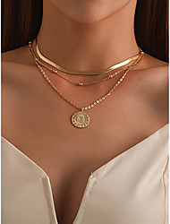 cheap -Women's Necklace Layered Necklace Stacking Stackable Lotus Simple Fashion European Alloy Gold 37 cm Necklace Jewelry 1pc For Street