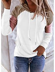 cheap -Women's Pullover Hoodie Sweatshirt Color Block Daily Weekend Casual Cute Hoodies Sweatshirts  White Black Blue