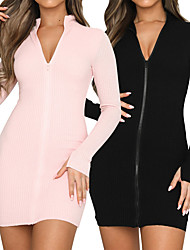 cheap -Women's Tee Dress Front Zipper Stand Collar Sport Athleisure Dress Long Sleeve Breathable Soft Comfortable Everyday Use Casual Daily Outdoor