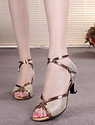 cheap -Women's Latin Shoes Heel Buckle Cuban Heel Peep Toe Black Gold Silver Buckle Adults' Stiletto Heels