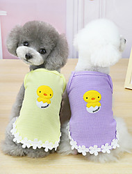 cheap -Dog Cat Shirt / T-Shirt Vest Lace Chicken Basic Adorable Cute Dailywear Casual / Daily Dog Clothes Puppy Clothes Dog Outfits Breathable Purple Yellow Orange Costume for Girl and Boy Dog Cotton S M L