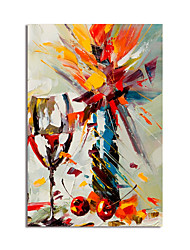 cheap -Oil Painting Handmade Hand Painted Wall Art Abstract Still Life Wine Glass Home Decoration Décor Stretched Frame Ready to Hang