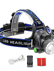 cheap -L-1 LED Light Headlamps 150 lm LED LED 1 Emitters 4 Mode with Batteries and Chargers Rotatable Portable Professional Camping / Hiking / Caving Everyday Use Cycling / Bike Black