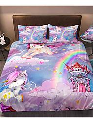 cheap -3D Printing Home Bedding Duvet Cover Sets Soft Microfiber For Kids Teens Adults Bedroom Unicorn 1 Duvet Cover + 1/2 Pillowcase Shams