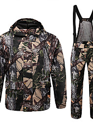 cheap -Men's Hoodie Hunting Fleece Hunting Jacket with Pants Outdoor Thermal Warm Windproof Breathable Quick Dry Autumn / Fall Winter Camo / Camouflage Coat Top Bottoms Polyester Taffeta Softshell Polyester