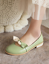 cheap -Girls' Flats Flower Girl Shoes Princess Shoes PU Mary Jane Big Kids(7years +) Daily Party & Evening Bowknot Pink Green Beige Spring Summer / Color Block