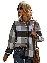 cheap -Womens Classic Plaid Long Sleeve Lapel Button Wool Blend Short Coat Shacket(Grey-M)