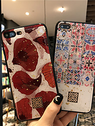 cheap -Epoxy Phone Case For iPhone 12 Pro Max iPhone 11 SE 2020 Shockproof Single Sided Pink and White Tile Geometric Pattern Glitter Shine TPU Case for iPhone 8 Plus