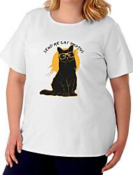 cheap -Women's Plus Size Tops T shirt Cat Graphic Prints Large Size Crewneck Short Sleeve Basic Big Size / Cotton