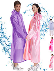 cheap -Rain Poncho Waterproof Hiking Jacket Rain Jacket Outdoor Waterproof Quick Dry Lightweight Breathable Raincoat Poncho Top Camping / Hiking / Caving Translucent (adult model) Frosted-Apple Green Purple