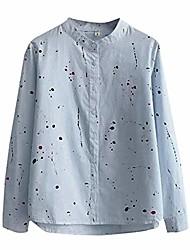 cheap -Women Fashion Long Sleeve Print Button Korean Shirt Casual Loose Blouse Summer Tops T Shirts Blue