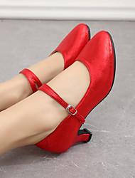 cheap -Women's Modern Shoes Heel Buckle Cuban Heel Black Red khaki Buckle