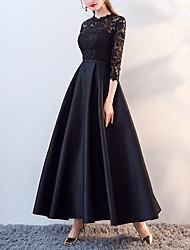 cheap -A-Line Mother of the Bride Dress Elegant Jewel Neck Ankle Length Lace Satin 3/4 Length Sleeve with Lace Appliques 2021