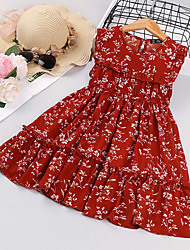 cheap -Kids Little Girls' Dress Floral Sundress Ruched Print Red Sleeveless Flower Active Dresses Regular Fit