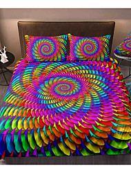 cheap -Colorful Tie Dye 3-Piece Duvet Cover Set Hotel Bedding Sets Comforter Cover with Soft Lightweight Microfiber, Include 1 Duvet Cover, 2 Pillowcases for Double/Queen/King(1 Pillowcase for Twin/Single)