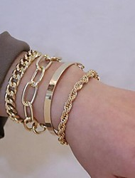 cheap -Women's Bracelet Bangles Mismatched Fashion Classic Alloy Bracelet Jewelry Gold / Silver For Festival