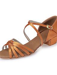 cheap -Latin Shoes Heel Ribbon Tie Chunky Heel Dark Brown Nude Buckle Kid's