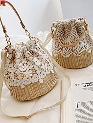 cheap -Women's Bags Linen Straw Crossbody Bag Straw Bag Lace Lace Printing Braided Daily Going out 2021 Handbags Messenger Bag White Beige