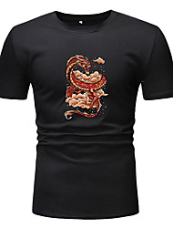 cheap -Men's T shirt Other Prints Graphic Short Sleeve Casual Tops Basic White Black