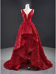 cheap -Ball Gown Luxurious Sexy Engagement Prom Dress V Neck Sleeveless Court Train Sequined with Sequin 2021