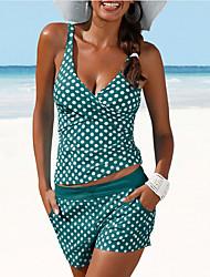 cheap -Women's Tankini 2 Piece Swimsuit Tummy Control Racerback Push Up Polka Dot Swimwear Vest V Neck Bathing Suits Swimwear Set Sports / Summer / Padded Bras / Beach