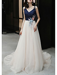 cheap -A-Line Color Block Floral Engagement Formal Evening Dress Spaghetti Strap Sleeveless Court Train Tulle with Pleats Appliques 2021