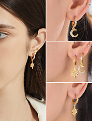 cheap -Women's AAA Cubic Zirconia Drop Earrings Hoop Earrings Earrings Vintage Style Moon Star Stylish Vintage S925 Sterling Silver Earrings Jewelry Gold For Birthday Gift Festival / Dangle Earrings