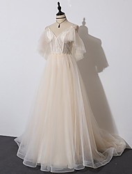 cheap -A-Line Beautiful Back Elegant Engagement Formal Evening Dress Spaghetti Strap Half Sleeve Court Train Tulle with Pleats Ruffles 2021