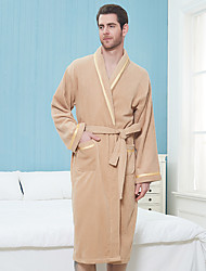 cheap -Superior Quality Unisex Bath Robe, Coffee/Yellow/White/Pink/Blue Pure Cotton Breathable Long Sleeve Solid Colored Nightgown Comfortable in Summer